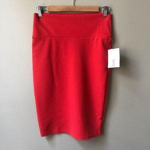 LuLaRoe Cassie Skirt Size S Red New NWT Stretchy